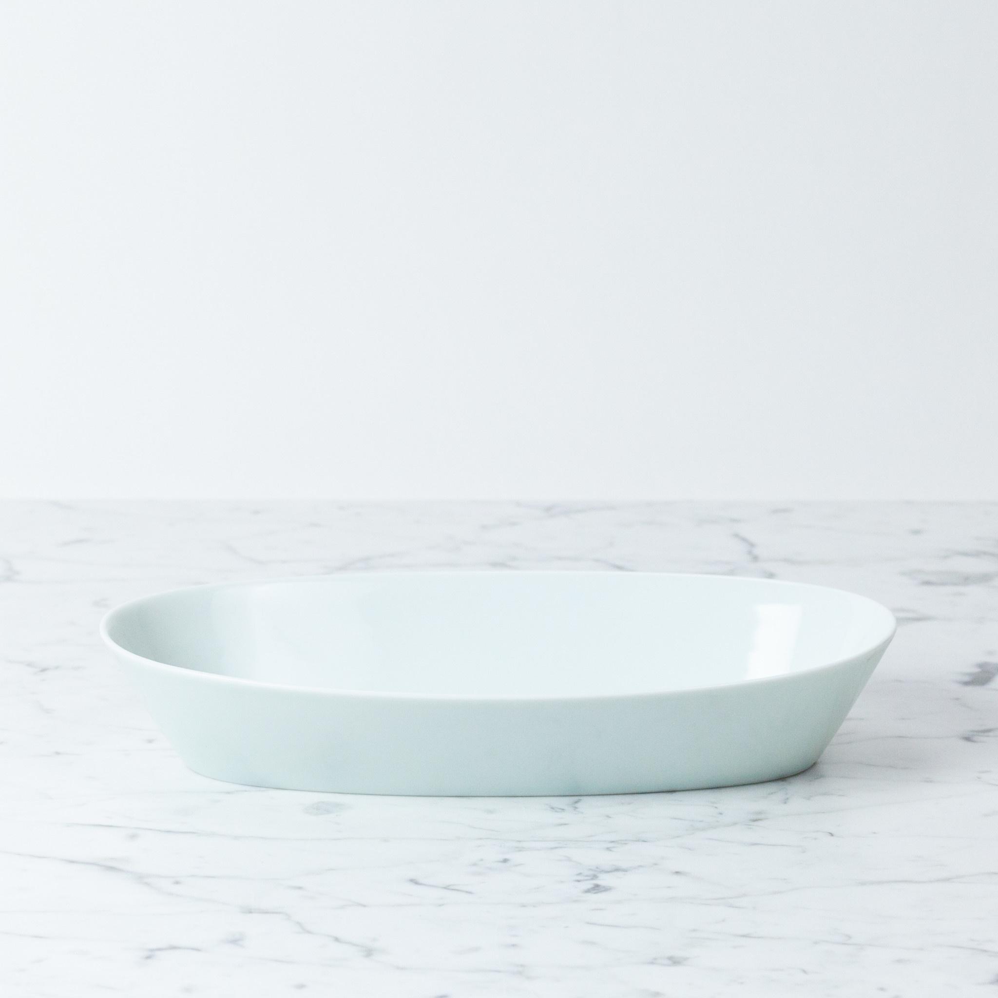 """MIZU MIZU PREORDER mizu-mizu Oval Porcelain Bowl - Bluish White - 11"""""""