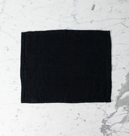 Heavy French Linen Table Mat - Black - 14 x 18""