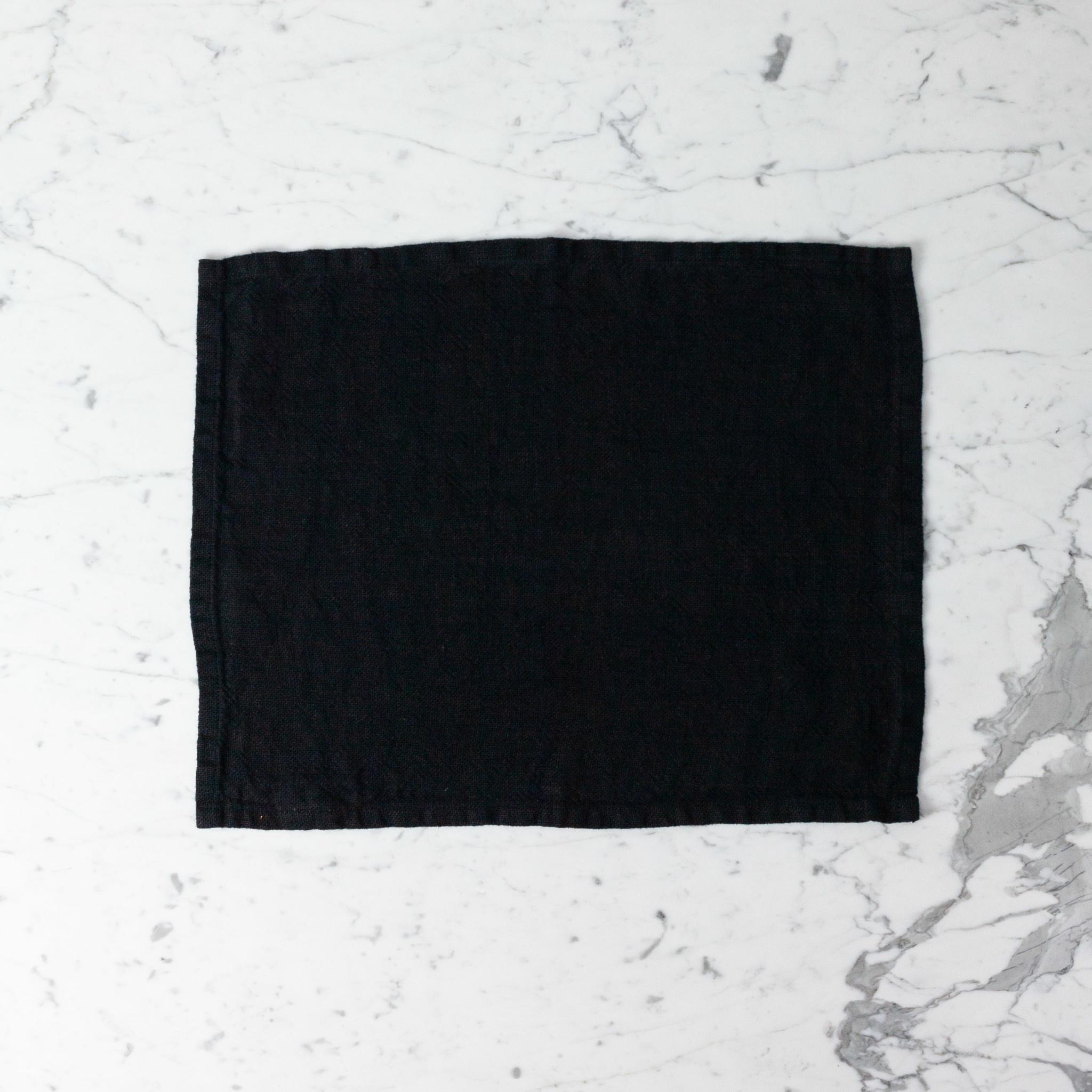 "Heavy French Linen Table Mat - Black - 14 x 18"""