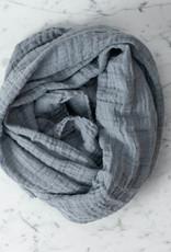 "Washed French Linen Gauze Scarf - Soft Blue Grey - 24 x 70"""