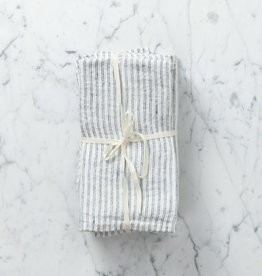 "Washed French Linen Napkin - White with Black Double Stripe - 18"" - Set of 6"