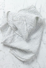 """Washed French Linen Napkin - White with Black Double Stripe - 18"""" - Set of 6"""