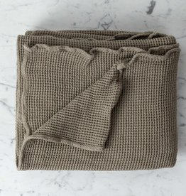 Washed French Linen + Cotton Thermal Waffle Bath Towel - Mouse Back Grey - 40 x 62""
