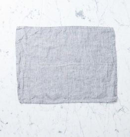 Petite Lithuanian Linen Place Mat or Tea Towel  - Grey + White Stripe