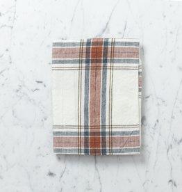"Libeco Home Belgian Linen Tea Towel - Speelman Rust Blue + Gold Check - 27"""