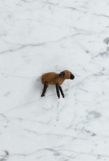 Natural Felted Wool Lamb - Brown