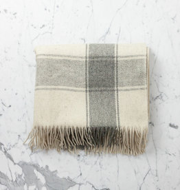 Rustic Wool Blanket - Cream with Wide Grey Stripe