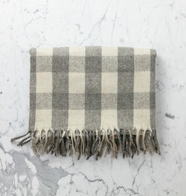 Wool Blanket - Grey + Cream Buffalo Check