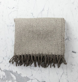 Wool Blanket - Grey with Cream Stripes