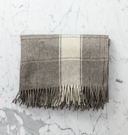 Wool Blanket - Grey with Wide Cream Stripe