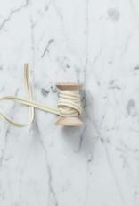 "Studio Carta Italian Cotton Ribbon - Cream with Metallic Gold Stripe - 1/4"" Width - Sold Per Yard"