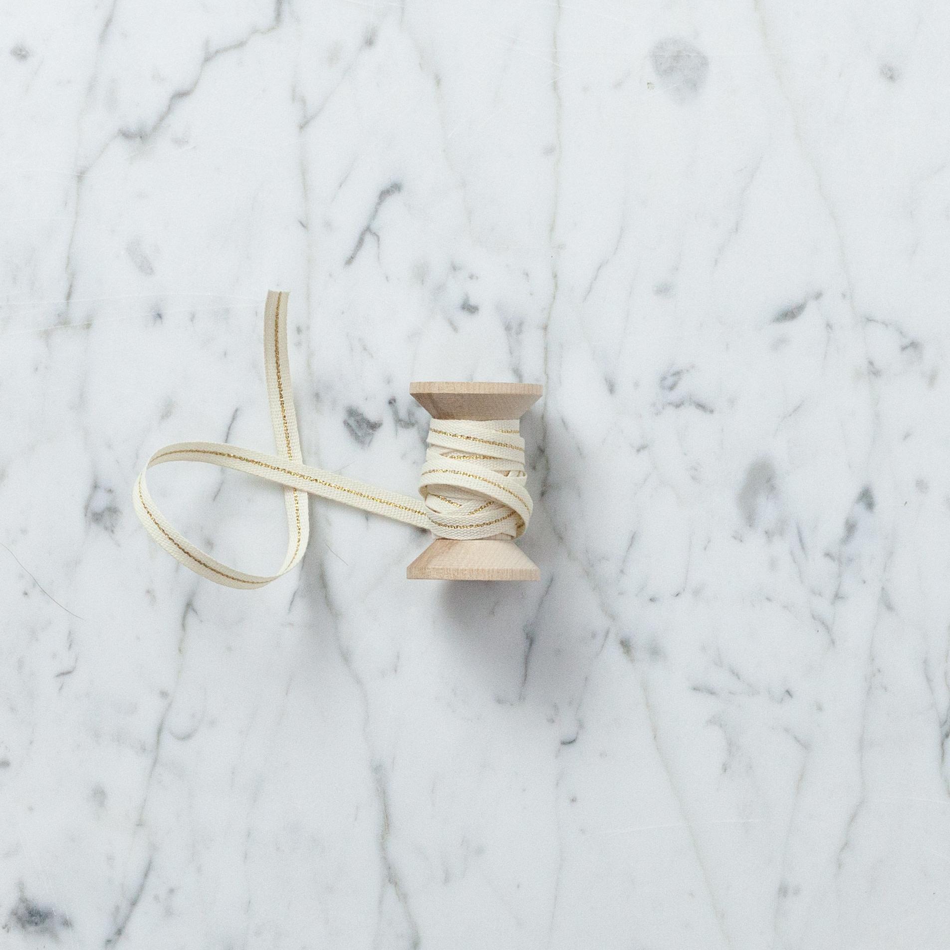 "Italian Cotton Ribbon - Cream with Metallic Gold Stripe - 1/4"" Width - Sold Per Yard"