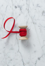 Italian Cotton Ribbon - Red - 1/4 in Width - Sold Per Yard