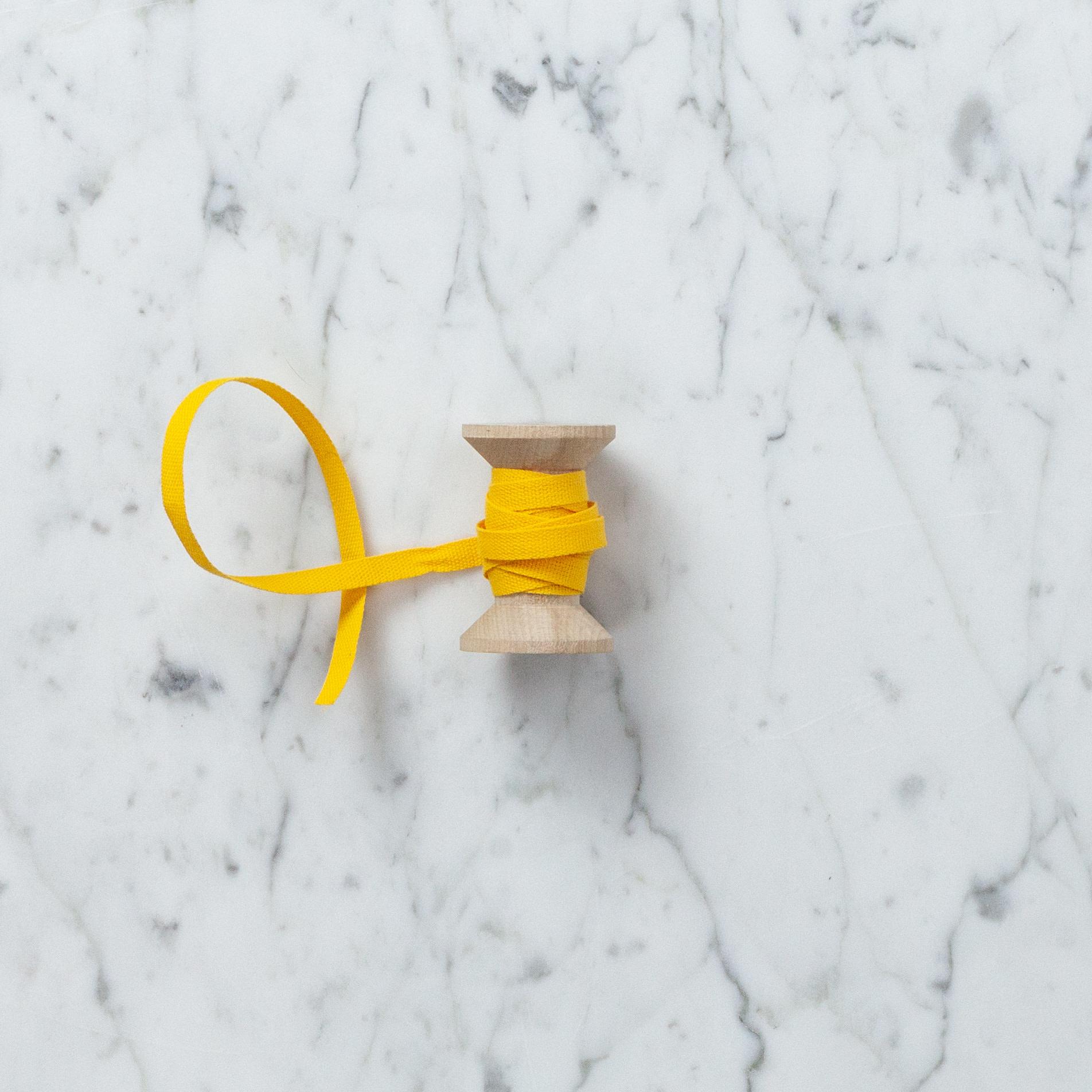 Italian Cotton Ribbon - Marigold - 1/4 in WIdth - Sold Per Yard