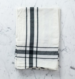 Libeco Home Camaret Cotton and Linen Tea Towel - Black - 27 x 27""