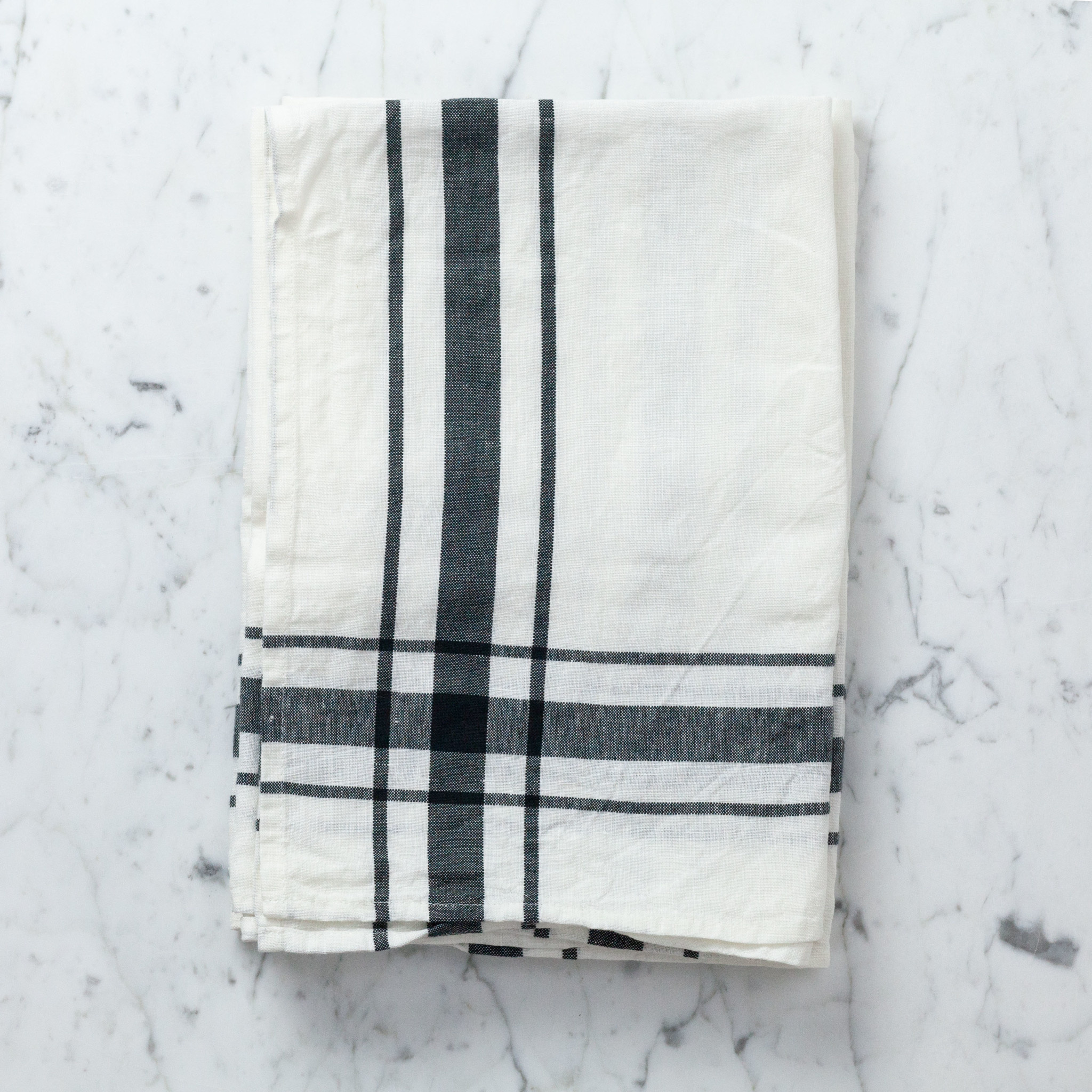 "Libeco Home Camaret Cotton and Linen Tea Towel - Black - 27"""