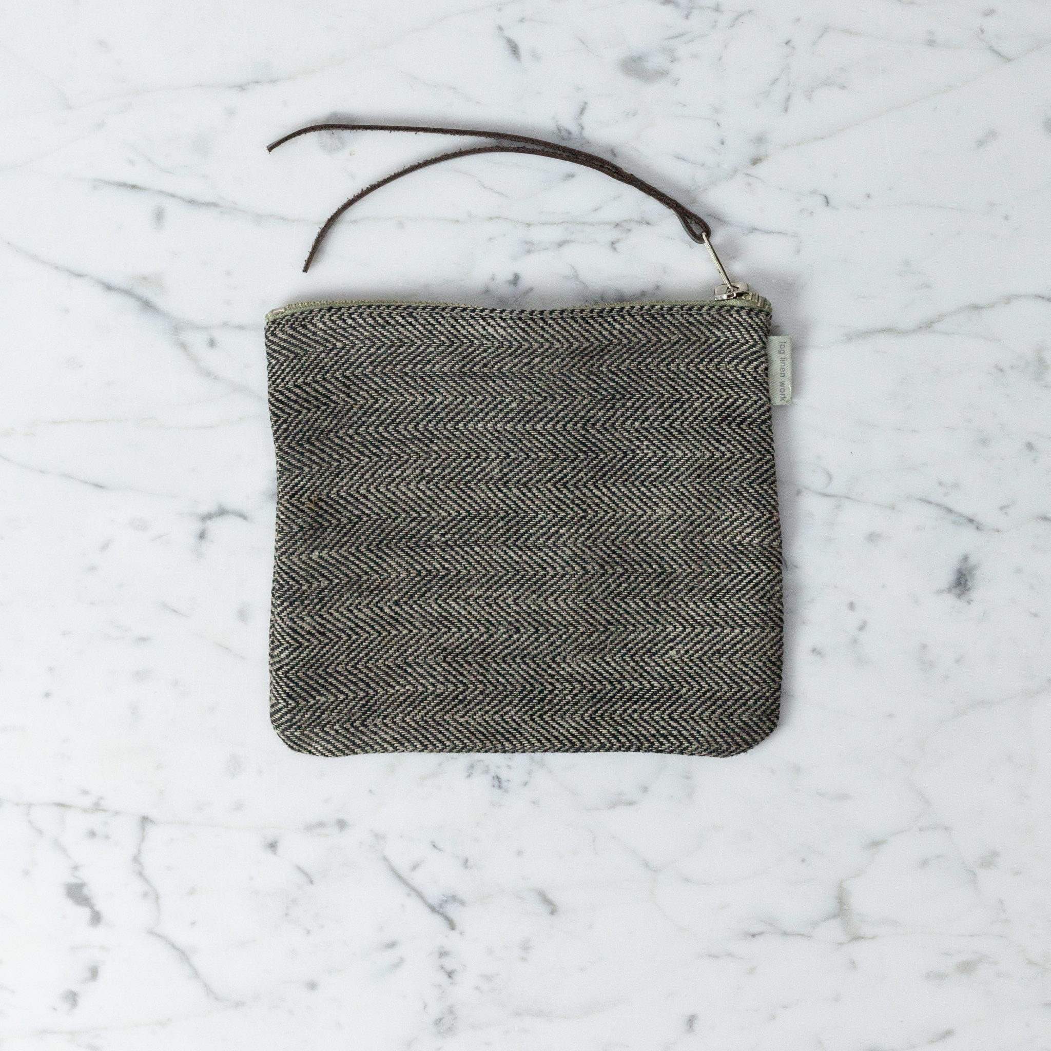 Linen Pouch - Medium - Herringbone - 6 x 7""