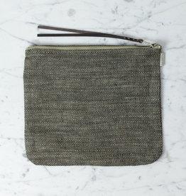 "Linen Pouch - Large - Herringbone - 8 x 10"""