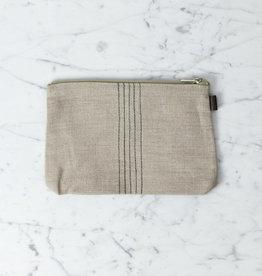 Tina Linen Pouch - Natural + Black Stitch Stripe