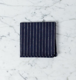 Linen Handkerchief - Erica Blue Stripe