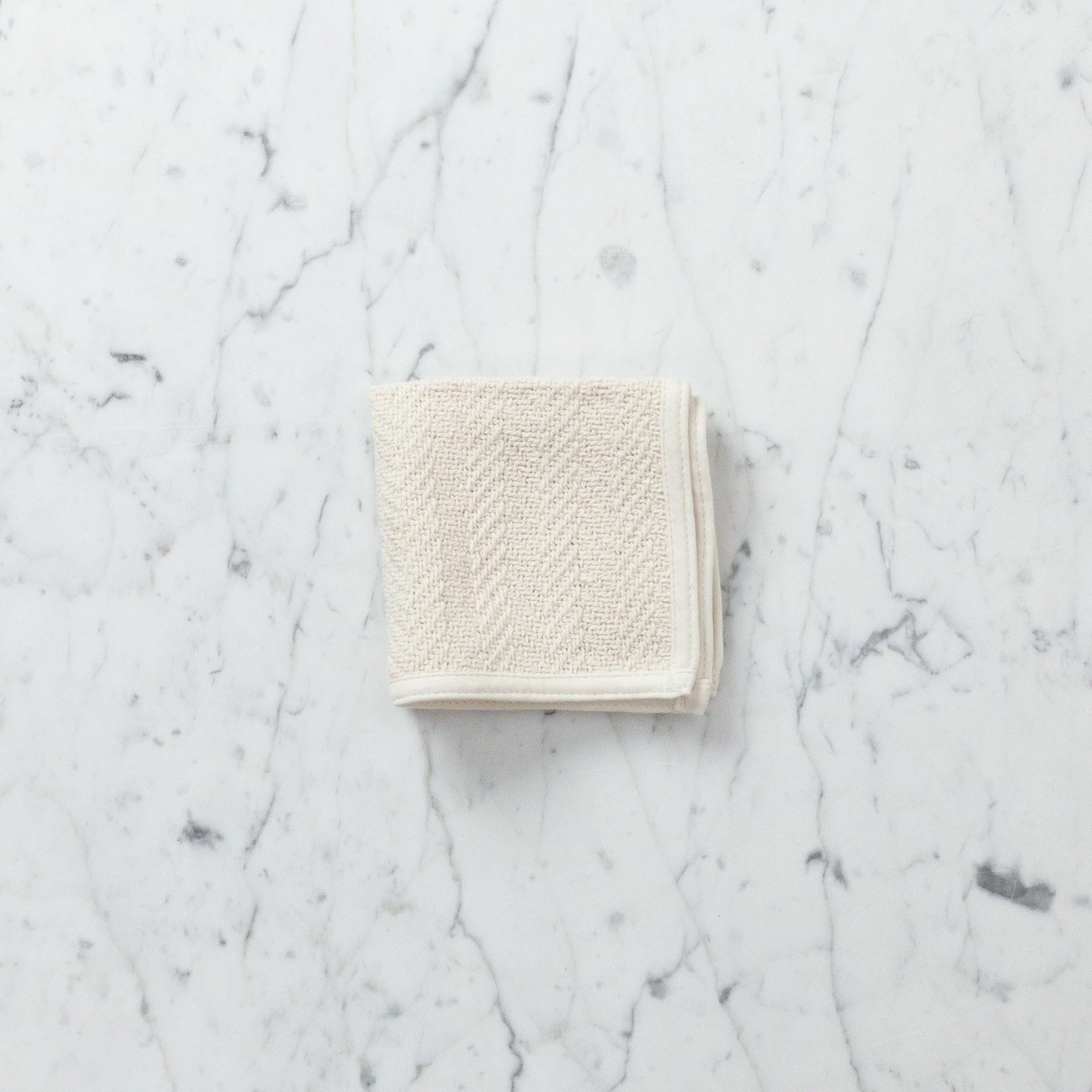 Herringbone Cotton Washcloth - Cream