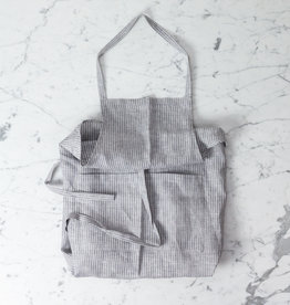 Full Linen Apron Grey + White Stripe