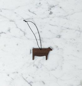 Collin Garrity Wooden Cow Ornament