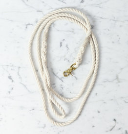 "Natural White 1/4"" Width Rope Dog Leash - 6' Long"