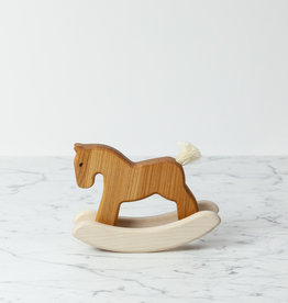 Small Wooden Rocking Horse Toy - Natural - 7""
