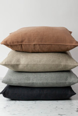 """Libeco Home Vancouver Organic Linen Pillow Cover with Insert - Button Closure - Arabica Grey - 20 x 20"""""""