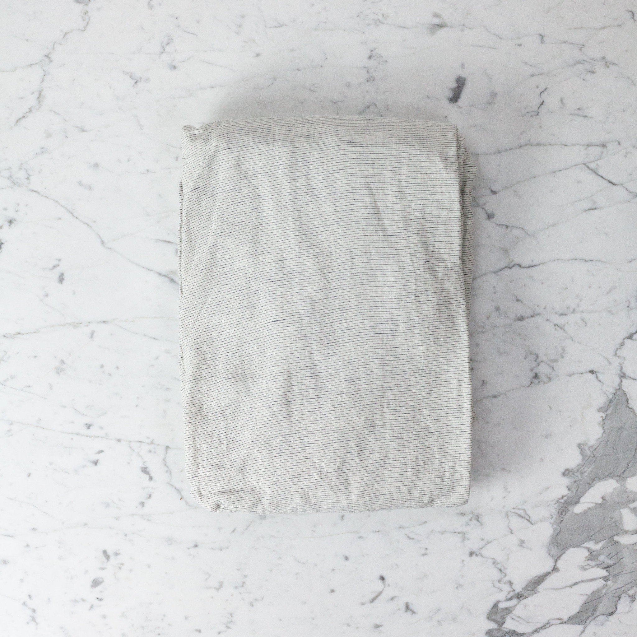 Linen Fitted Sheet - Queen - Pinstripe