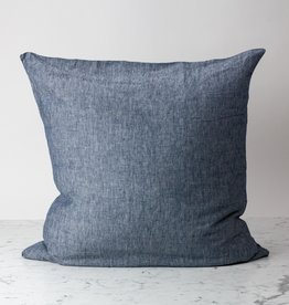 "Indigo Blue Chambray - 26"" - Linen Dec Pillow with Down Insert"