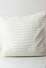 """Cultiver White with Black Pencil Stripe - 26"""" - Linen Dec Pillow with Down Insert"""