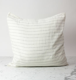 "Cultiver White with Black Pencil Stripe - 26"" - Linen Dec Pillow with Down Insert"