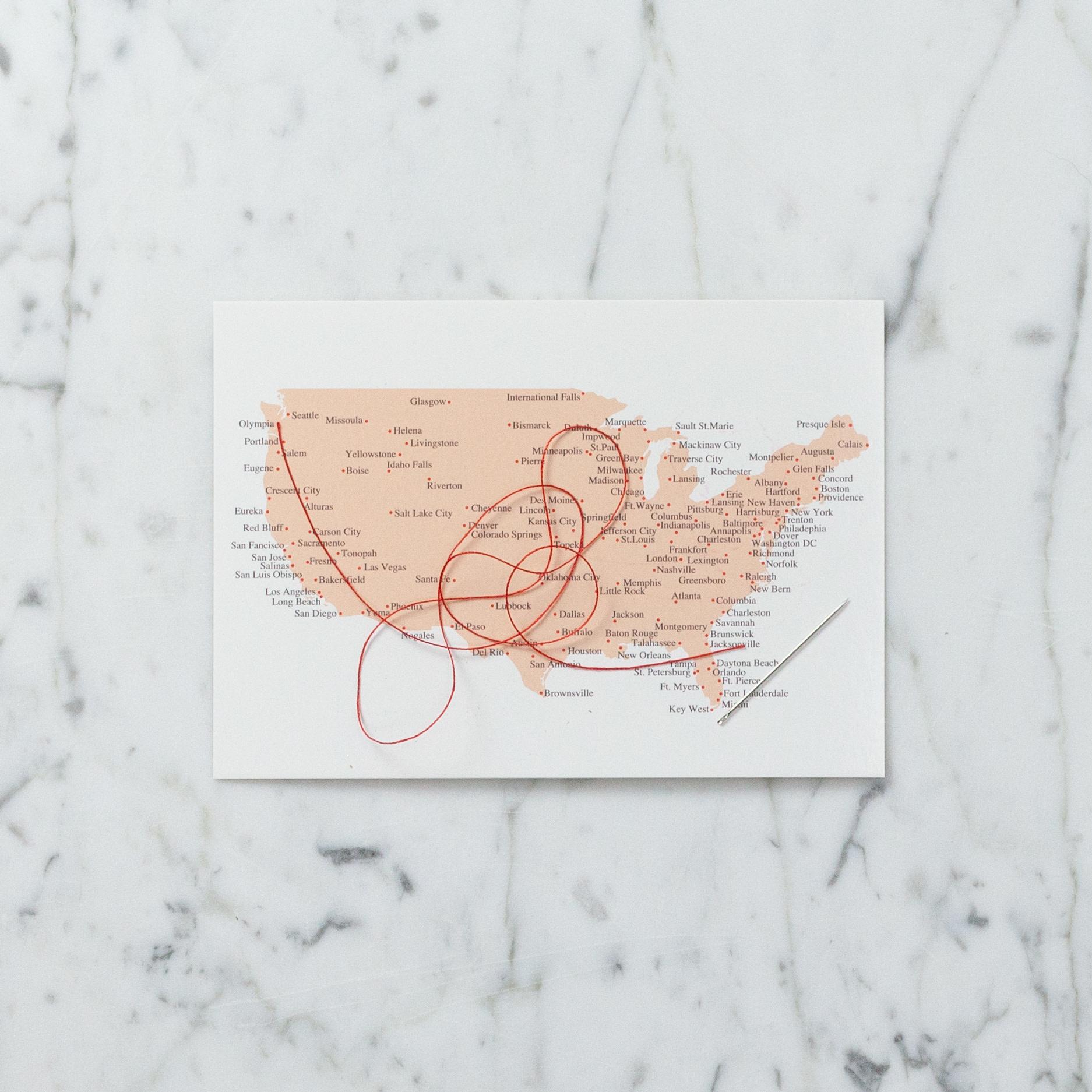 Stitching Postcard - USA