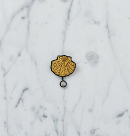Hand Embroidered Macon & Lesquoy Pin - Scallop Shell + Pearl