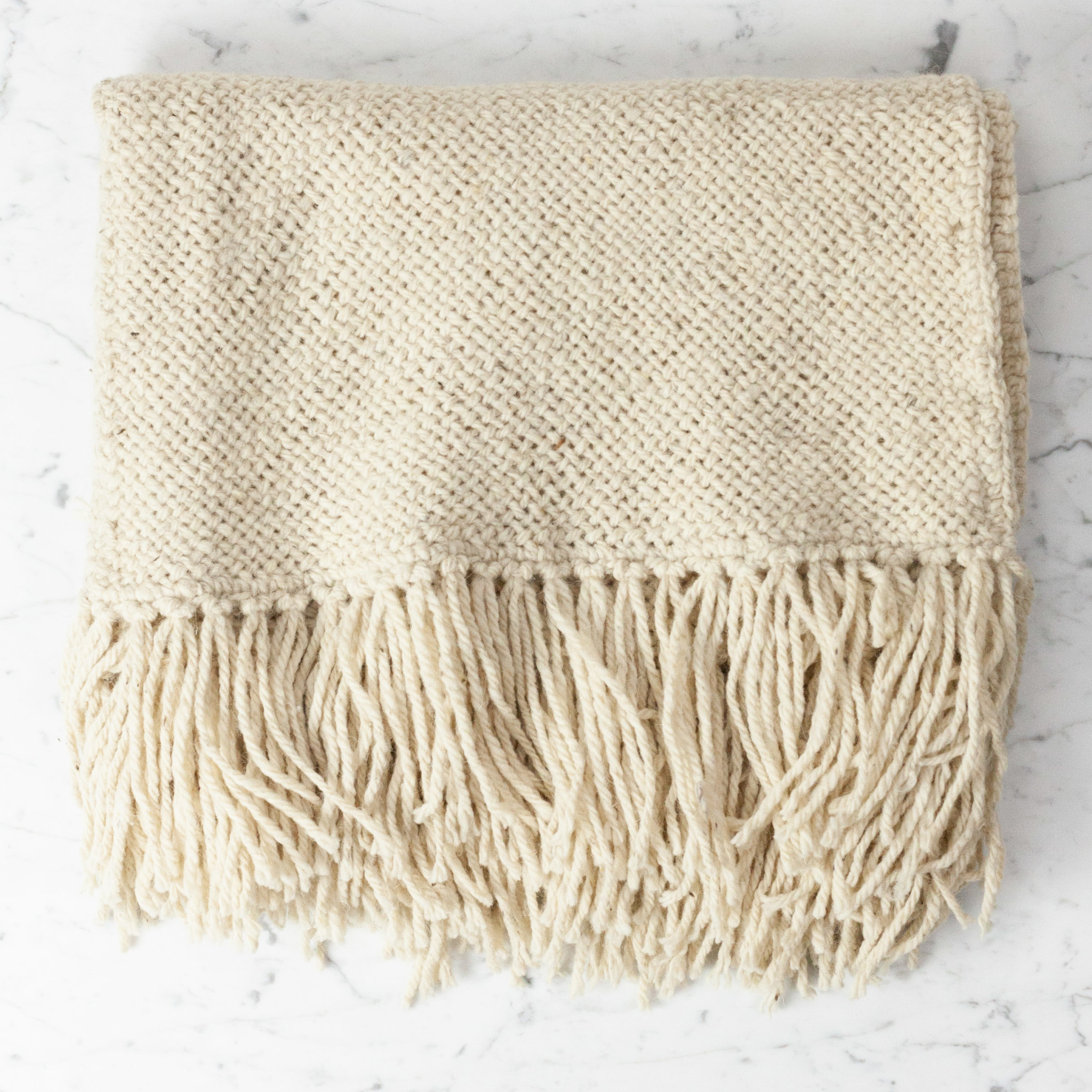 Handwoven Llao Throw - Naturally Dyed Wool with Fringe - Cream - Medium - 3 x 5'