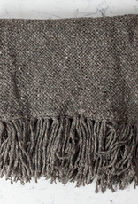 Handwoven Llao Throw - Naturally Dyed Wool with Fringe - Grey - Medium - 3 x 5'