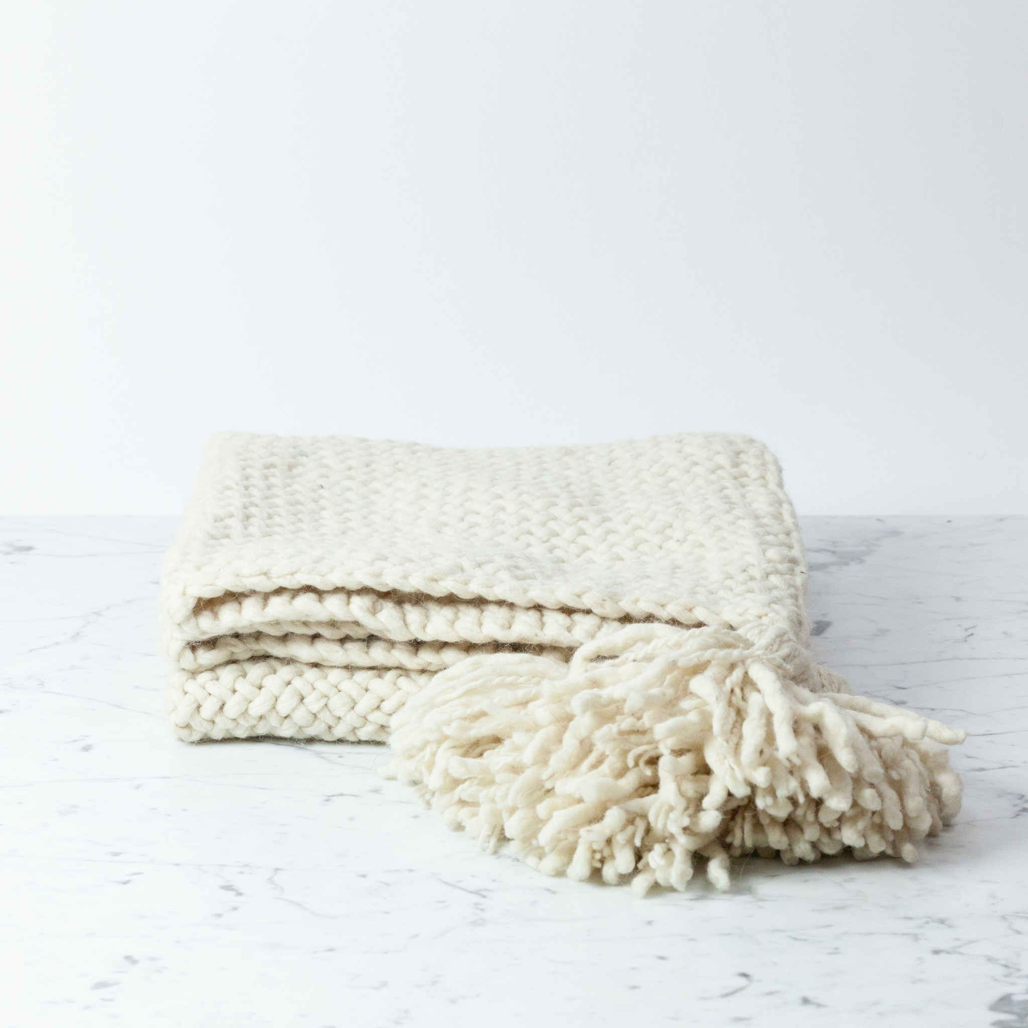 Handwoven Bayo Throw - Naturally Dyed Wool with Tassels - Cream - Small - 3 x 6'