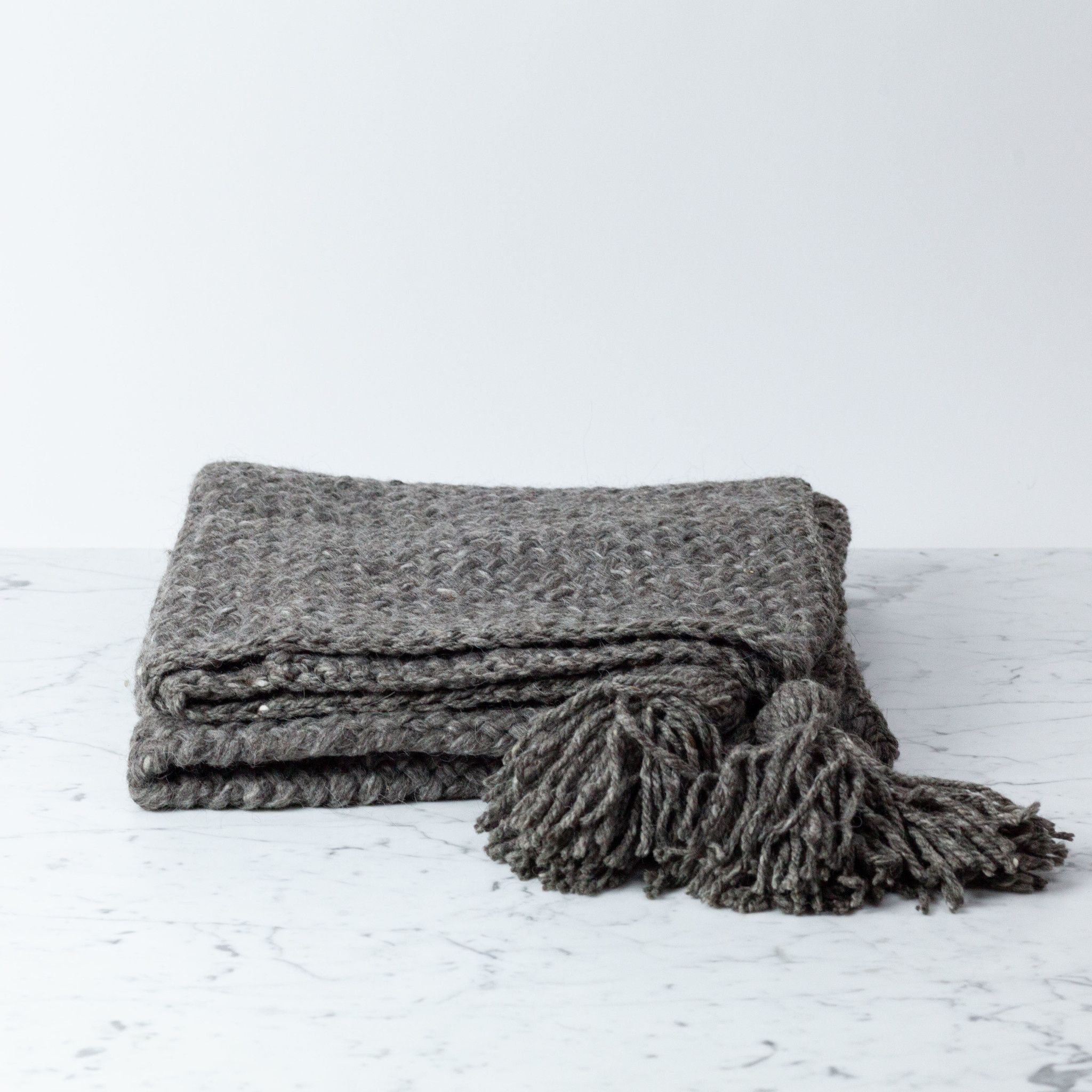 Handwoven Bayo Throw - Naturally Dyed Wool with Tassels - Grey - Small - 3 x 6'