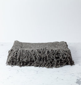 Handwoven Llao Throw - Natural Wool with Fringe - Grey - Medium - 3 x 5'