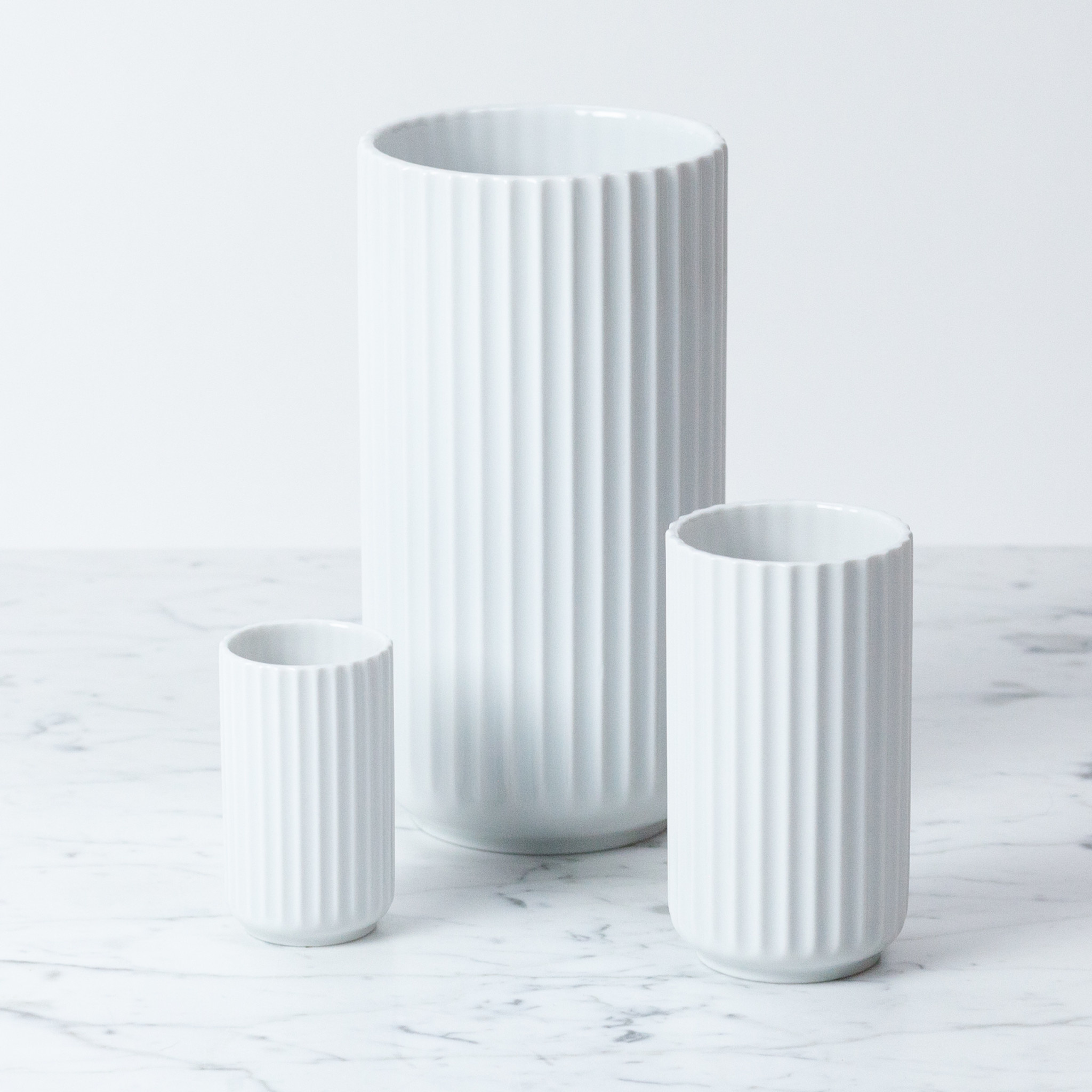 Lyngby Porcelain Lyngby Fluted Vase - 20 cm - Glossy White