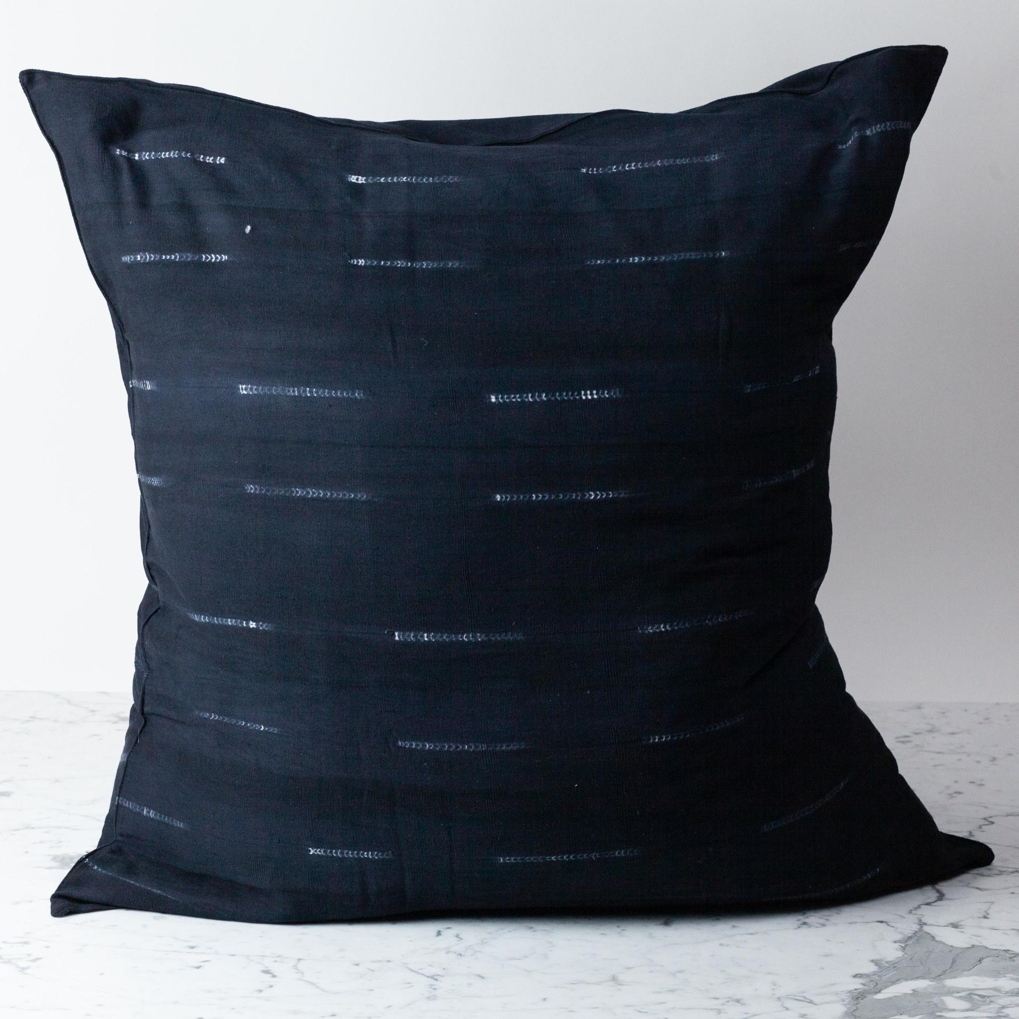 "TENSIRA 32 x 32"" Handwoven Cotton Pillow with Down Insert - Envelope Closure - Black Delicate Stitch Dye Stripe"