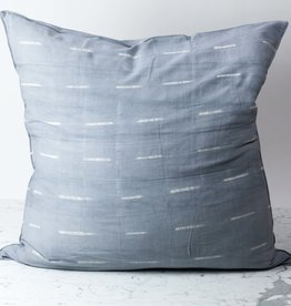 "TENSIRA 32 x 32"" Handwoven Cotton Pillow with Down Insert - Envelope Closure - Grey Delicate Stitch Dye Stripe"