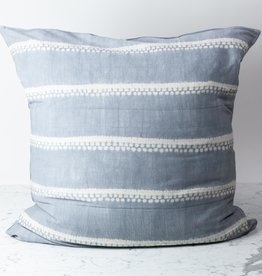 "TENSIRA 32 x 32"" Handwoven Cotton Pillow Down Insert - Envelope Closure - Grey Spotty Stitch Dye Stripes"