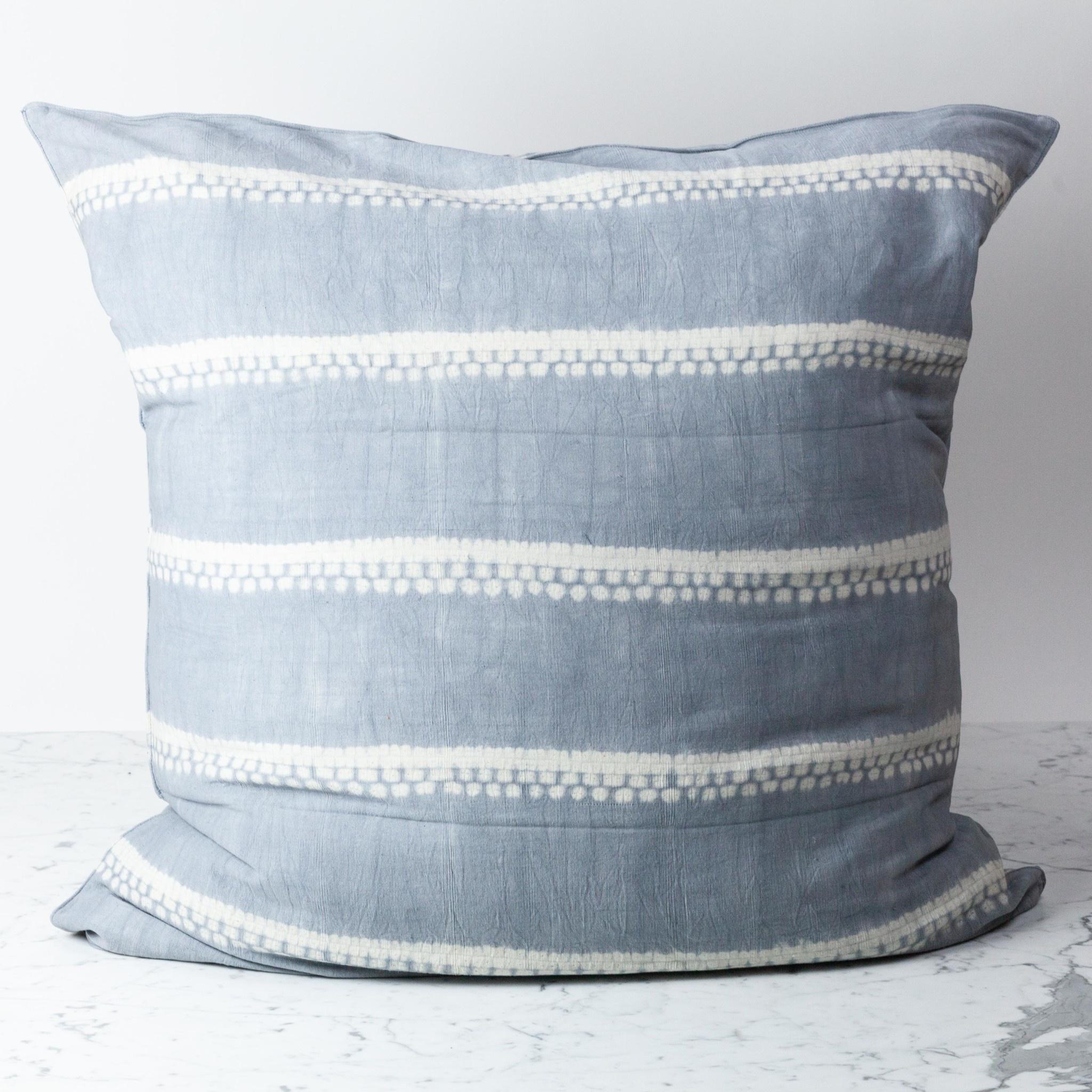 """TENSIRA 32 x 32"""" Handwoven Cotton Pillow Down Insert - Envelope Closure - Grey Spotty Stitch Dye Stripes"""