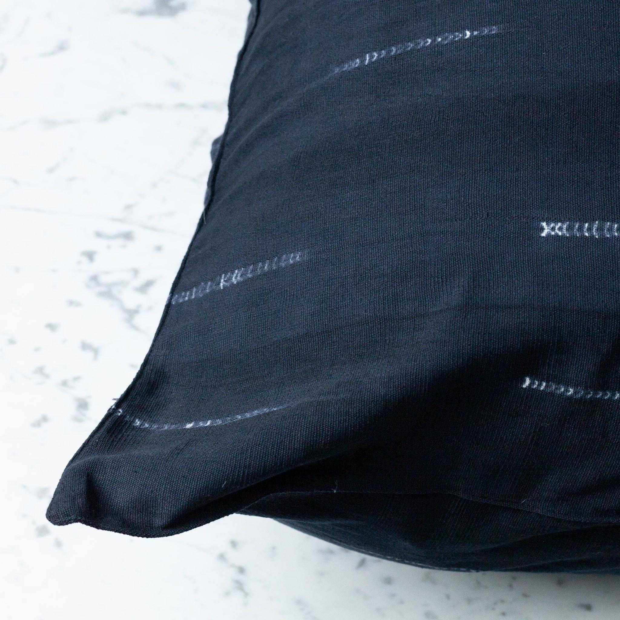 "TENSIRA 24 x 24"" Handwoven Cotton Pillow with Down Insert - Button Closure - Black Delicate Stitch Dye Stripe"