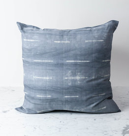 "TENSIRA 24 x 24"" Handwoven Cotton Pillow with Down Insert - Button Closure - Grey Delicate Stitch Dye Stripe"