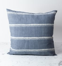 "TENSIRA 24 x 24"" Handwoven Cotton Pillow with Down Insert - Button Closure - Grey Spotty Stitch Dye Stripes"