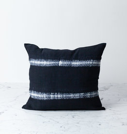 "TENSIRA 16 x 16"" - Handwoven Cotton Pillow with Down Insert - Button Closure - Black Fish Bone Stitch Dye Stripes"